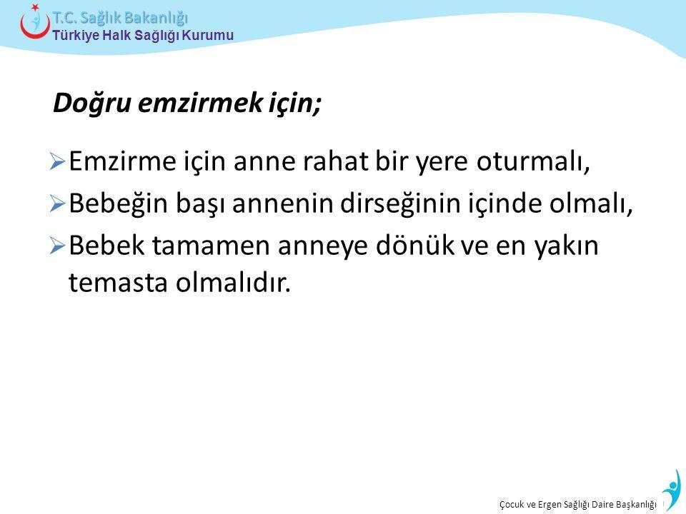İstatistik ve Bilgi İşlem Daire Başkanlığı Türkiye Halk Sağlığı Kurumu T.C. Sağlık Bakanlığı Çocuk ve Ergen Sağlığı Daire Başkanlığı  Emzirme için an