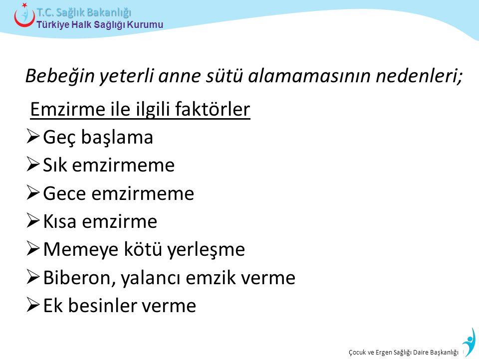 İstatistik ve Bilgi İşlem Daire Başkanlığı Türkiye Halk Sağlığı Kurumu T.C. Sağlık Bakanlığı Çocuk ve Ergen Sağlığı Daire Başkanlığı Bebeğin yeterli a