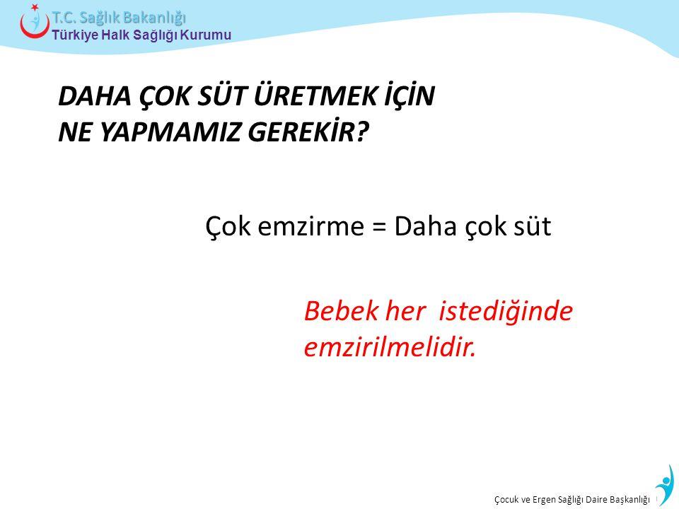 İstatistik ve Bilgi İşlem Daire Başkanlığı Türkiye Halk Sağlığı Kurumu T.C. Sağlık Bakanlığı Çocuk ve Ergen Sağlığı Daire Başkanlığı DAHA ÇOK SÜT ÜRET