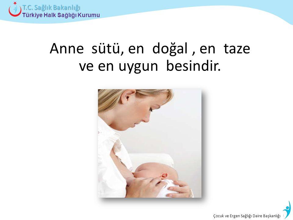 İstatistik ve Bilgi İşlem Daire Başkanlığı Türkiye Halk Sağlığı Kurumu T.C. Sağlık Bakanlığı Çocuk ve Ergen Sağlığı Daire Başkanlığı Anne sütü, en doğ