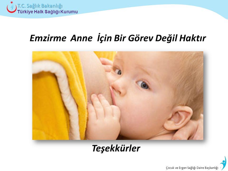 İstatistik ve Bilgi İşlem Daire Başkanlığı Türkiye Halk Sağlığı Kurumu T.C. Sağlık Bakanlığı Çocuk ve Ergen Sağlığı Daire Başkanlığı Emzirme Anne İçin