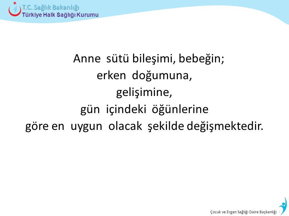 İstatistik ve Bilgi İşlem Daire Başkanlığı Türkiye Halk Sağlığı Kurumu T.C. Sağlık Bakanlığı Çocuk ve Ergen Sağlığı Daire Başkanlığı Anne sütü bileşim