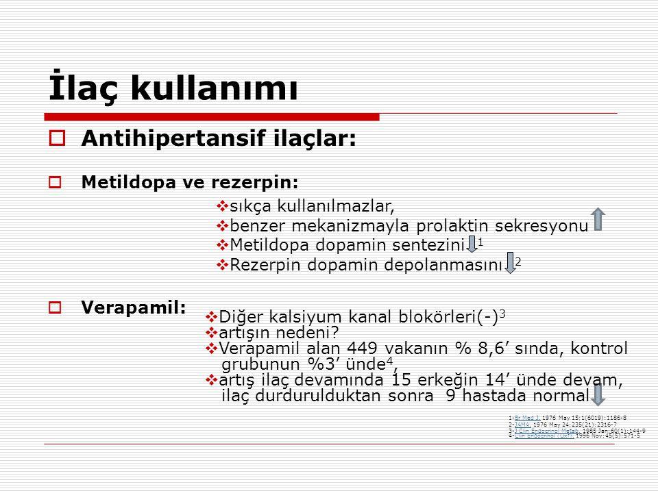 İlaç kullanımı  Antihipertansif ilaçlar:  Metildopa ve rezerpin:  Verapamil:  sıkça kullanılmazlar,  benzer mekanizmayla prolaktin sekresyonu  Metildopa dopamin sentezini 1  Rezerpin dopamin depolanmasını 2  Diğer kalsiyum kanal blokörleri(-) 3  artışın nedeni.