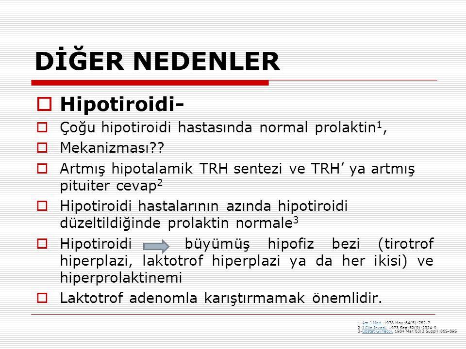 DİĞER NEDENLER  Hipotiroidi-  Çoğu hipotiroidi hastasında normal prolaktin 1,  Mekanizması??  Artmış hipotalamik TRH sentezi ve TRH' ya artmış pit
