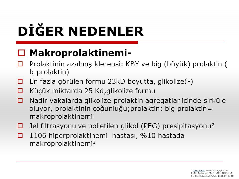 DİĞER NEDENLER  Makroprolaktinemi-  Prolaktinin azalmış klerensi: KBY ve big (büyük) prolaktin ( b-prolaktin)  En fazla görülen formu 23kD boyutta, glikolize(-)  Küçük miktarda 25 Kd,glikolize formu  Nadir vakalarda glikolize prolaktin agregatlar içinde sirküle oluyor, prolaktinin çoğunluğu;prolaktin: big prolaktin= makroprolaktinemi  Jel filtrasyonu ve polietilen glikol (PEG) presipitasyonu 2  1106 hiperprolaktinemi hastası, %10 hastada makroprolaktinemi 3 1-Fertil Steril.