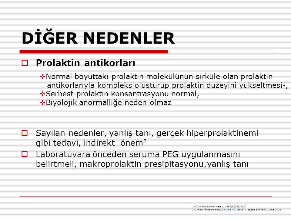 DİĞER NEDENLER  Prolaktin antikorları  Sayılan nedenler, yanlış tanı, gerçek hiperprolaktinemi gibi tedavi, indirekt önem 2  Laboratuvara önceden seruma PEG uygulanmasını belirtmeli, makroprolaktin presipitasyonu, yanlış tanı 1-J Clin Endocrinol Metab.