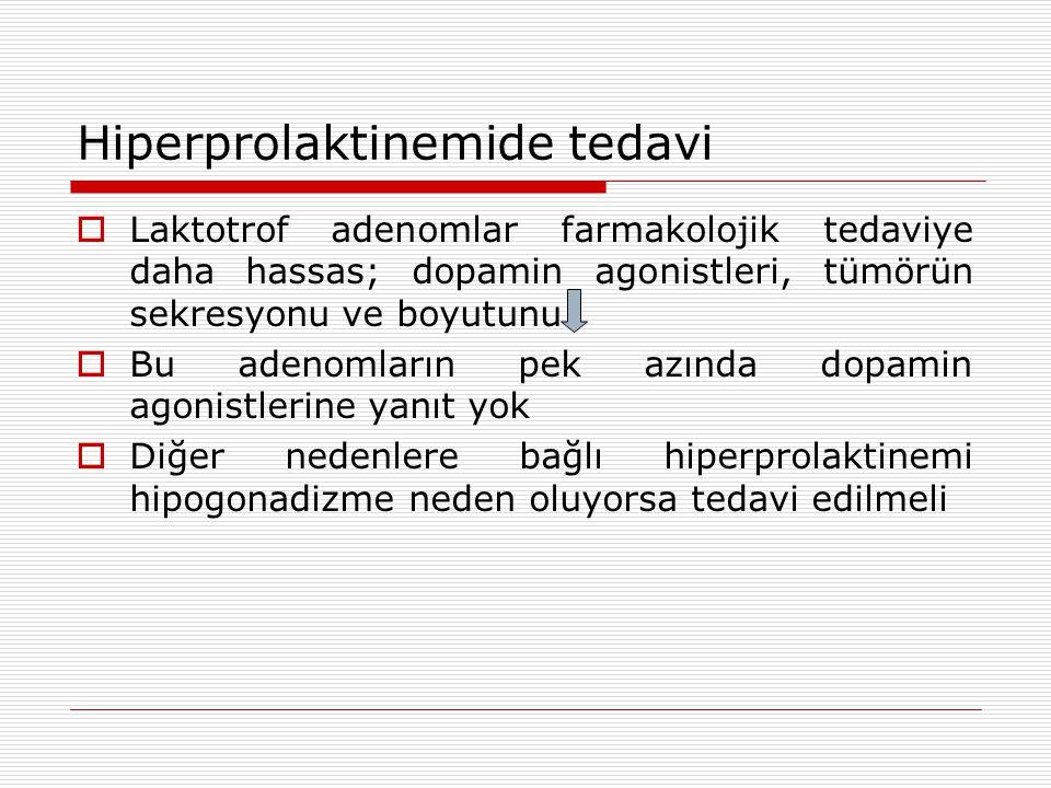 Hiperprolaktinemide tedavi  Laktotrof adenomlar farmakolojik tedaviye daha hassas; dopamin agonistleri, tümörün sekresyonu ve boyutunu  Bu adenomların pek azında dopamin agonistlerine yanıt yok  Diğer nedenlere bağlı hiperprolaktinemi hipogonadizme neden oluyorsa tedavi edilmeli