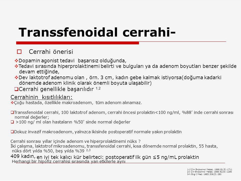Transsfenoidal cerrahi-  Cerrahi önerisi  Dopamin agonist tedavi başarısız olduğunda,  Tedavi sırasında hiperprolaktinemi belirti ve bulguları ya da adenom boyutları benzer şekilde devam ettiğinde,  Dev laktotrof adenomu olan, örn.