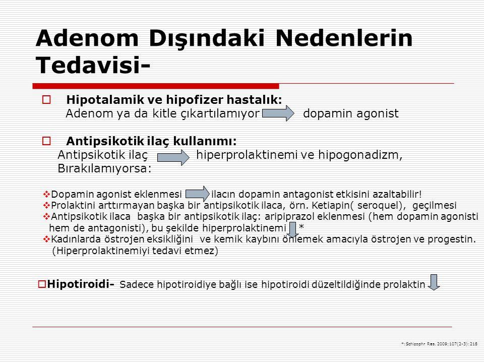 Adenom Dışındaki Nedenlerin Tedavisi-  Hipotalamik ve hipofizer hastalık: Adenom ya da kitle çıkartılamıyor dopamin agonist  Antipsikotik ilaç kulla