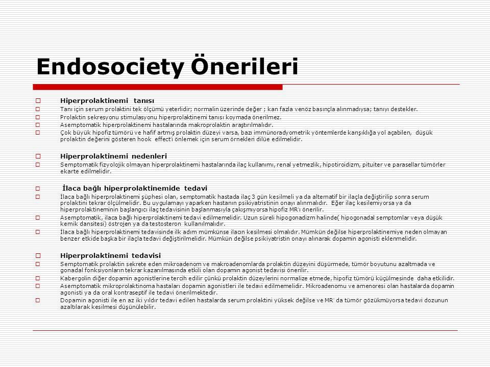 Endosociety Önerileri  Hiperprolaktinemi tanısı  Tanı için serum prolaktini tek ölçümü yeterlidir; normalin üzerinde değer ; kan fazla venöz basınçla alınmadıysa; tanıyı destekler.