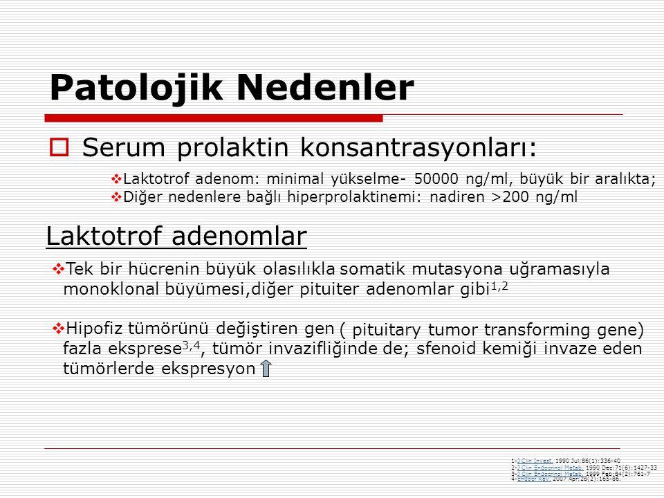 Patolojik Nedenler  Serum prolaktin konsantrasyonları:  Laktotrof adenom: minimal yükselme- 50000 ng/ml, büyük bir aralıkta;  Diğer nedenlere bağlı hiperprolaktinemi: nadiren >200 ng/ml Laktotrof adenomlar  Tek bir hücrenin büyük olasılıkla somatik mutasyona uğramasıyla monoklonal büyümesi,diğer pituiter adenomlar gibi 1,2  Hipofiz tümörünü değiştiren gen fazla eksprese 3,4, tümör invazifliğinde de; sfenoid kemiği invaze eden tümörlerde ekspresyon 1-J Clin Invest.