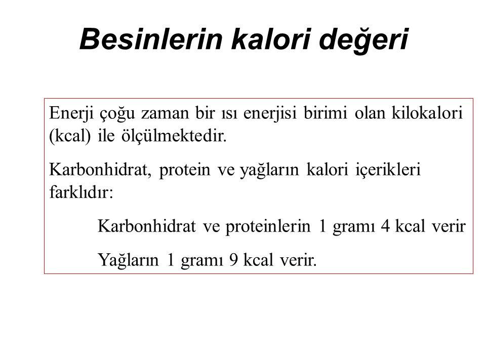 Besinlerin kalori değeri Enerji çoğu zaman bir ısı enerjisi birimi olan kilokalori (kcal) ile ölçülmektedir.