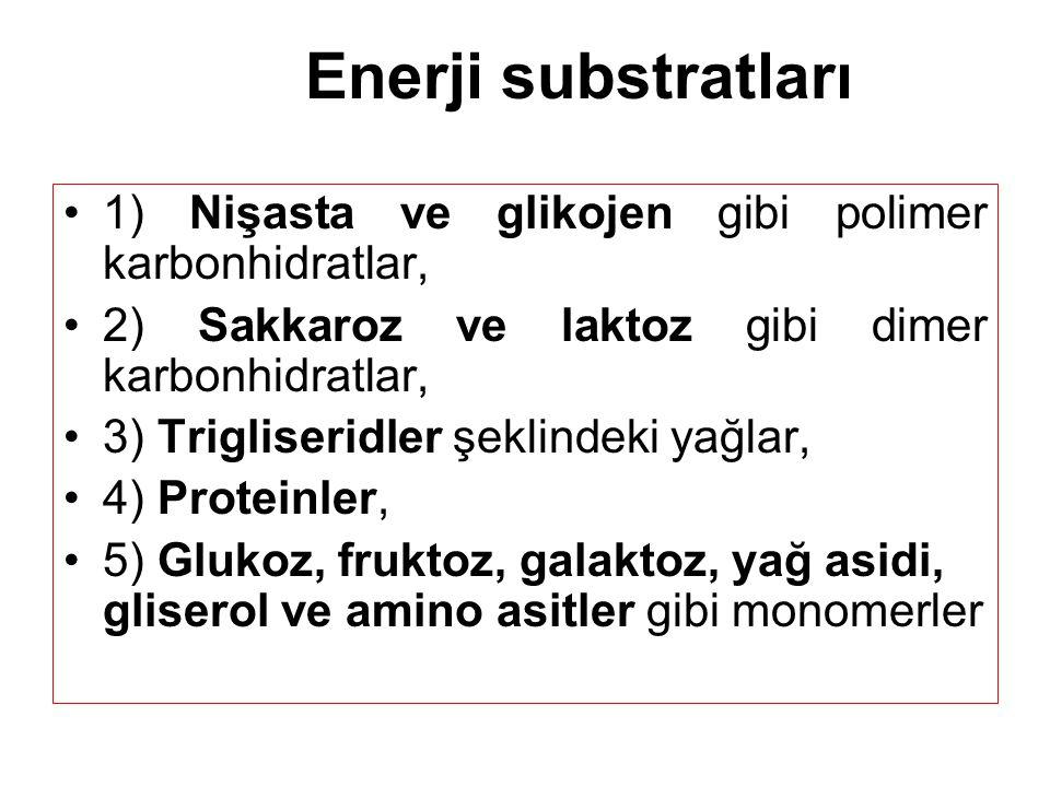 Enerji substratları 1) Nişasta ve glikojen gibi polimer karbonhidratlar, 2) Sakkaroz ve laktoz gibi dimer karbonhidratlar, 3) Trigliseridler şeklindeki yağlar, 4) Proteinler, 5) Glukoz, fruktoz, galaktoz, yağ asidi, gliserol ve amino asitler gibi monomerler