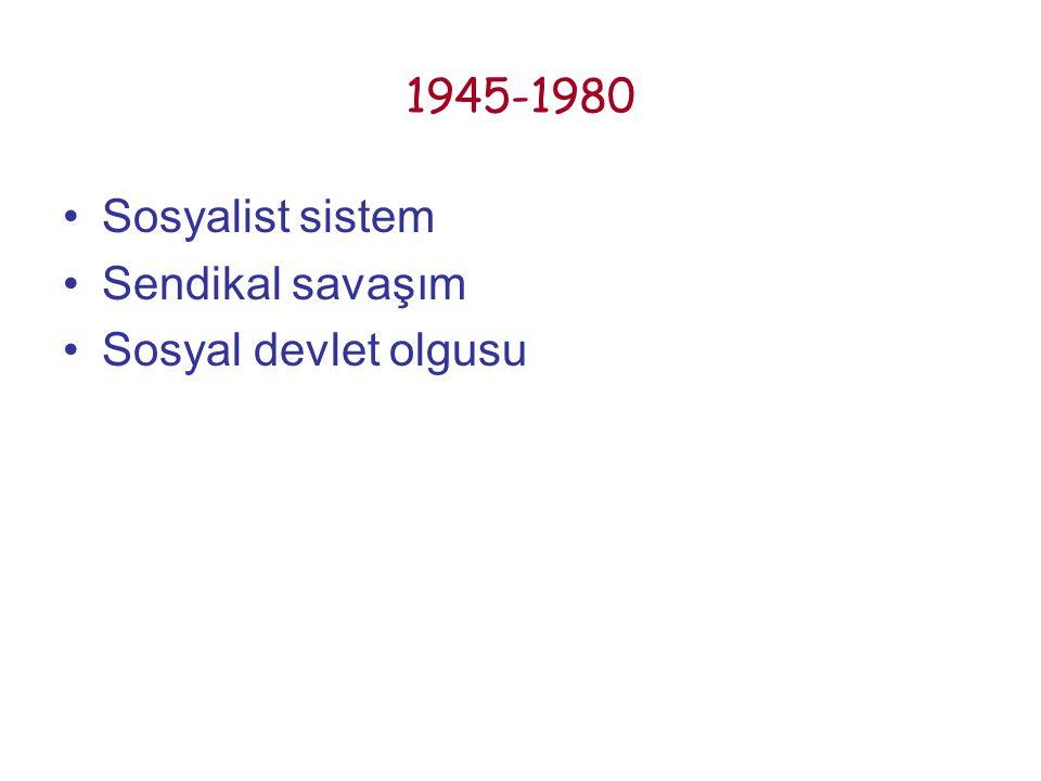 1945-1980 Sosyalist sistem Sendikal savaşım Sosyal devlet olgusu