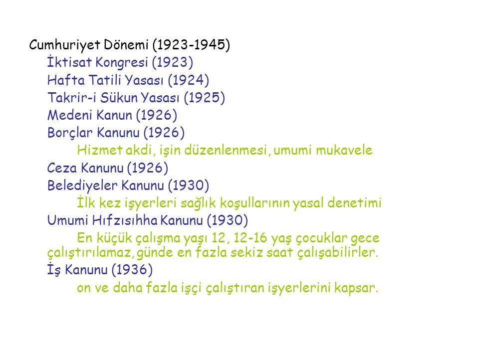 Cumhuriyet Dönemi (1923-1945) İktisat Kongresi (1923) Hafta Tatili Yasası (1924) Takrir-i Sükun Yasası (1925) Medeni Kanun (1926) Borçlar Kanunu (1926