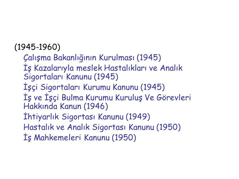 (1945-1960) Çalışma Bakanlığının Kurulması (1945) İş Kazalarıyla meslek Hastalıkları ve Analık Sigortaları Kanunu (1945) İşçi Sigortaları Kurumu Kanun