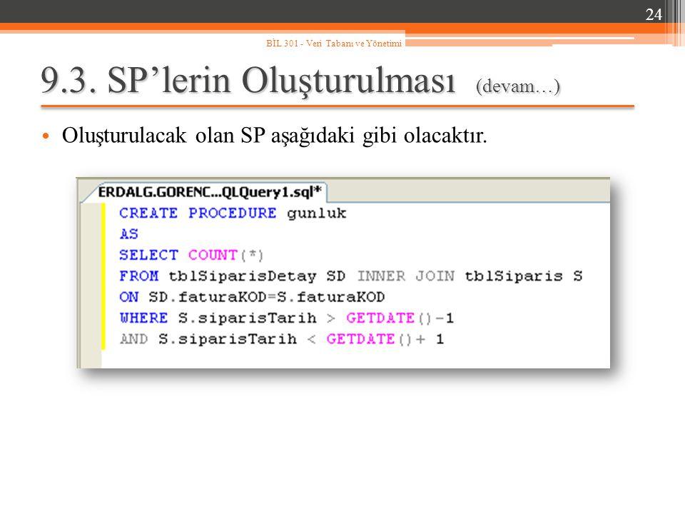 9.3. SP'lerin Oluşturulması (devam…) Oluşturulacak olan SP aşağıdaki gibi olacaktır. 24 BİL 301 - Veri Tabanı ve Yönetimi