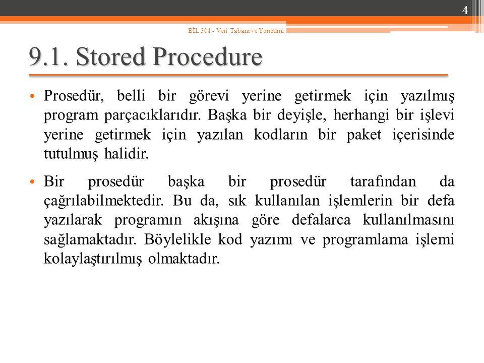 9.1. Stored Procedure Prosedür, belli bir görevi yerine getirmek için yazılmış program parçacıklarıdır. Başka bir deyişle, herhangi bir işlevi yerine