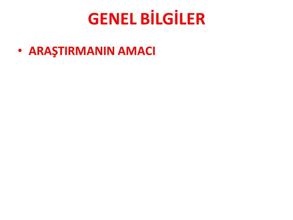 GENEL BİLGİLER ARAŞTIRMANIN MATERYAL METODU