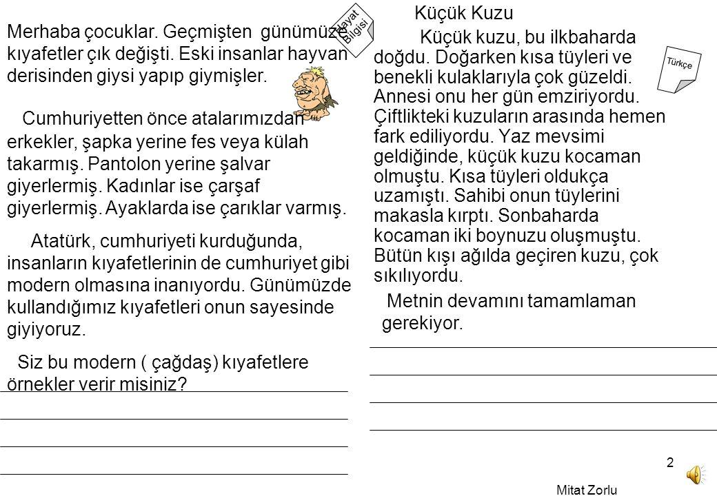 Mitat Zorlu 2 Hayat Bilgisi Türkçe Merhaba çocuklar.