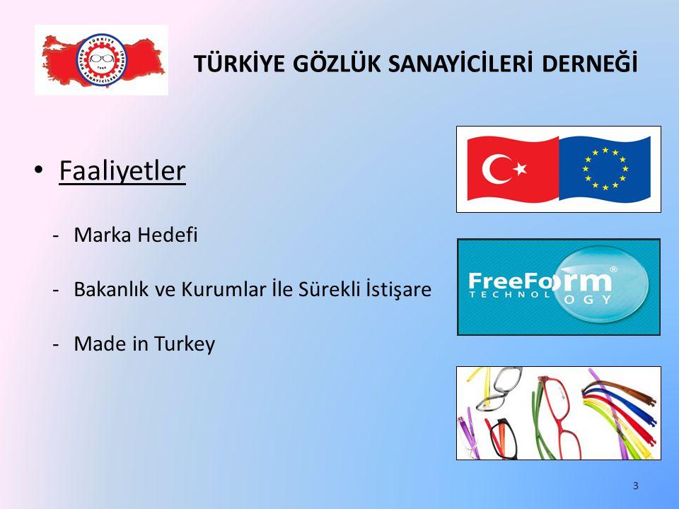 TÜRKİYE GÖZLÜK SANAYİCİLERİ DERNEĞİ Faaliyetler -Marka Hedefi -Bakanlık ve Kurumlar İle Sürekli İstişare -Made in Turkey 3