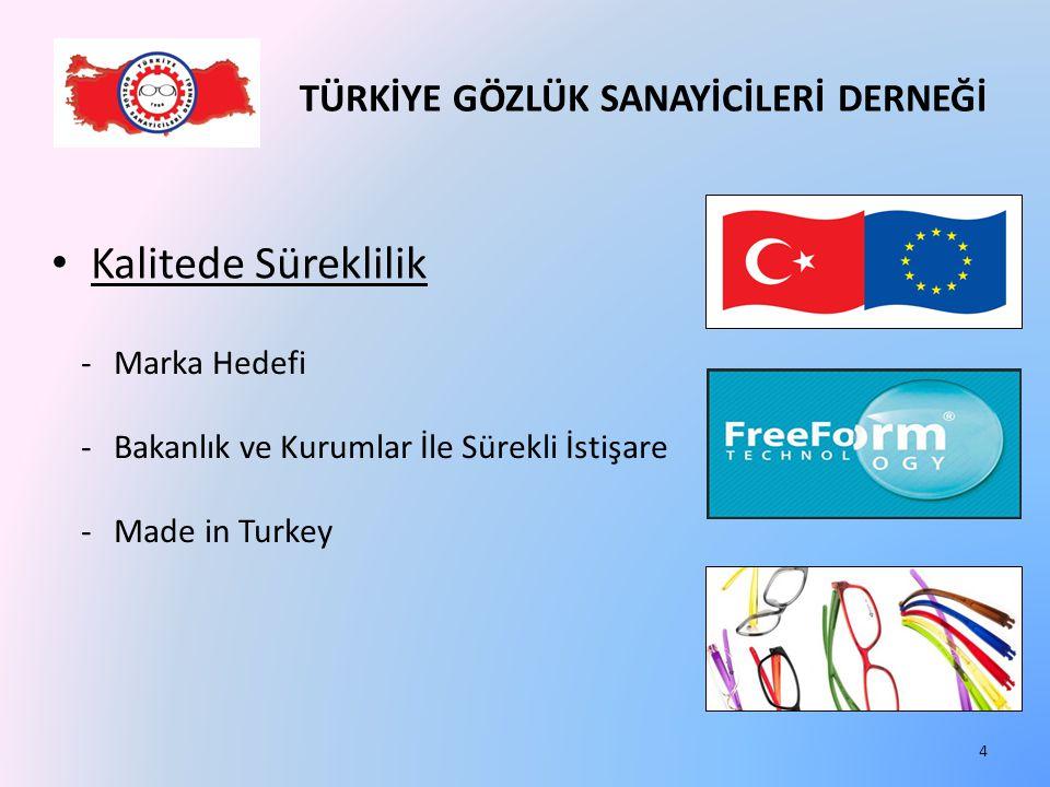 TÜRKİYE GÖZLÜK SANAYİCİLERİ DERNEĞİ Kalitede Süreklilik -Marka Hedefi -Bakanlık ve Kurumlar İle Sürekli İstişare -Made in Turkey 4