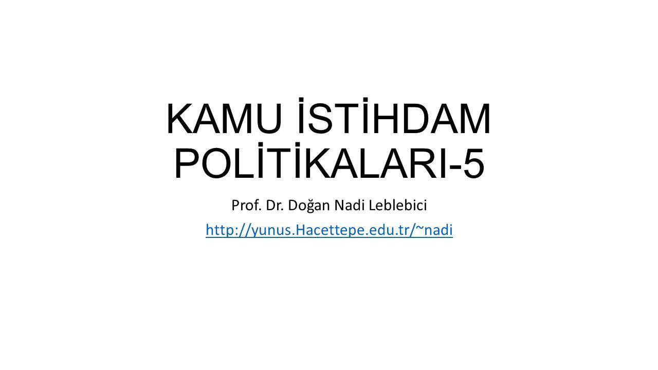 KAMU İSTİHDAM POLİTİKALARI-5 Prof. Dr. Doğan Nadi Leblebici http://yunus.Hacettepe.edu.tr/~nadi