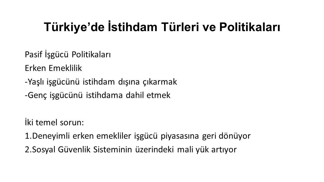 Türkiye'de İstihdam Türleri ve Politikaları Pasif İşgücü Politikaları Erken Emeklilik -Yaşlı işgücünü istihdam dışına çıkarmak -Genç işgücünü istihdama dahil etmek İki temel sorun: 1.Deneyimli erken emekliler işgücü piyasasına geri dönüyor 2.Sosyal Güvenlik Sisteminin üzerindeki mali yük artıyor