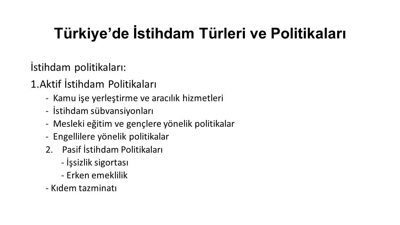 Türkiye'de İstihdam Türleri ve Politikaları İstihdam politikaları: 1.Aktif İstihdam Politikaları -Kamu işe yerleştirme ve aracılık hizmetleri -İstihdam sübvansiyonları -Mesleki eğitim ve gençlere yönelik politikalar -Engellilere yönelik politikalar 2.