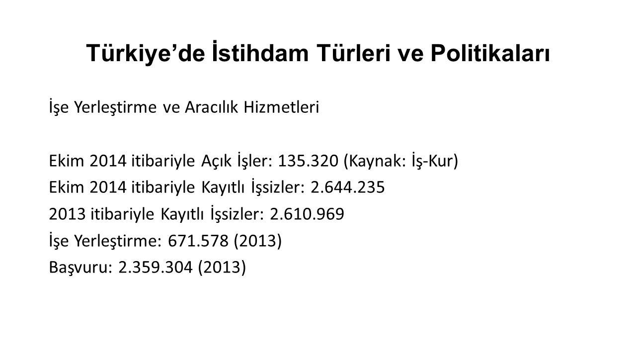 Türkiye'de İstihdam Türleri ve Politikaları İstihdam Sübvansiyonları -Özürlü istihdamı -Eski hükümlü istihdamı -İşverenlerin sigorta prim paylarının devletçe ödenmesi -Gelir vergisinin istihdama bağlı olarak azaltılması -İşsizlere kendi işlerini kurmaları için mikro kredi verilmesi