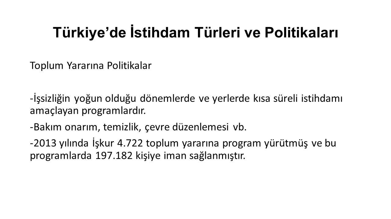 Türkiye'de İstihdam Türleri ve Politikaları Engellilere Yönelik Politikalar İş-Kur tarafından işe yerleştirilen engelliler: 31.962 (2012) Temel sorun: Nitelikli engelli işgücü Kültür + Eğitim Haklarından Yararlanamama + Devlet Politikalarındaki Eksiklikler = Niteliksiz ve İstihdam Edilemez Engelli İşgücü