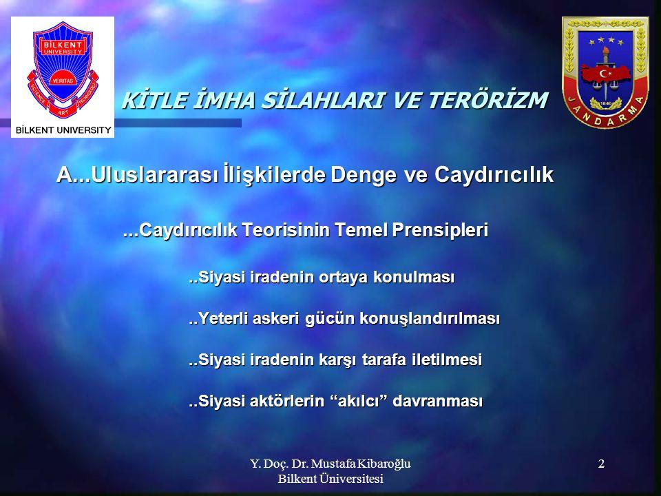 Y. Doç. Dr. Mustafa Kibaroğlu Bilkent Üniversitesi 2 KİTLE İMHA SİLAHLARI VE TERÖRİZM KİTLE İMHA SİLAHLARI VE TERÖRİZM A...Uluslararası İlişkilerde De