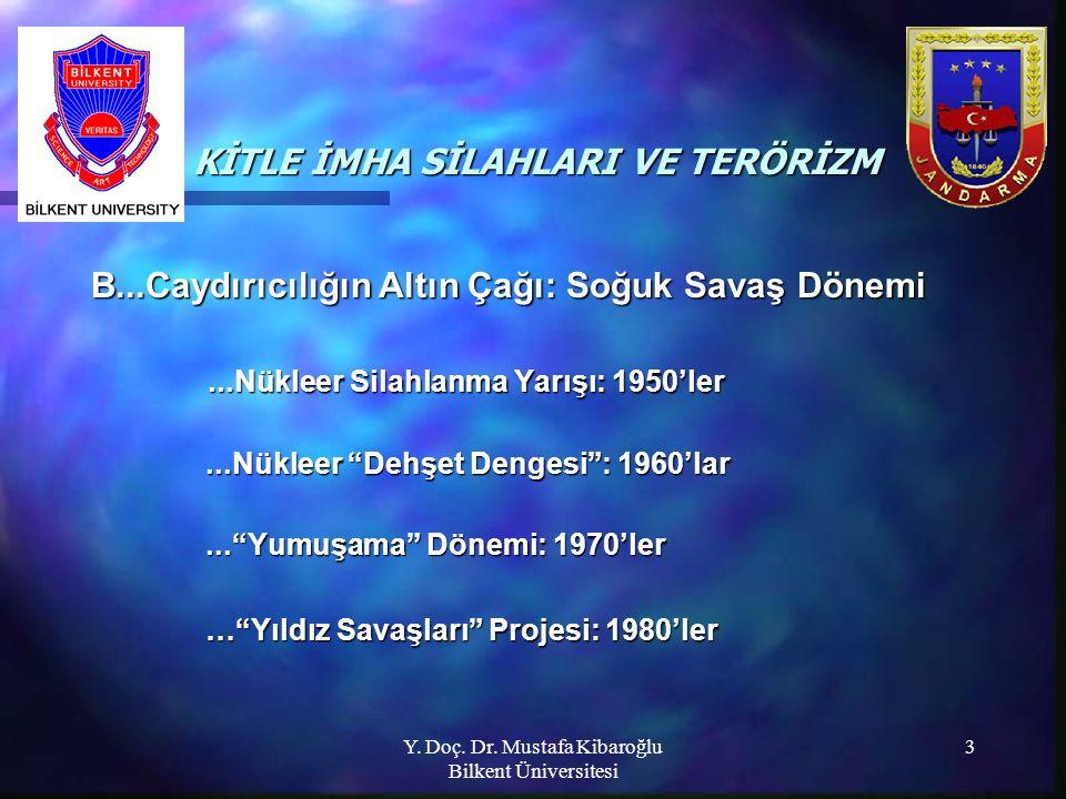 Y. Doç. Dr. Mustafa Kibaroğlu Bilkent Üniversitesi 3 KİTLE İMHA SİLAHLARI VE TERÖRİZM KİTLE İMHA SİLAHLARI VE TERÖRİZM B...Caydırıcılığın Altın Çağı: