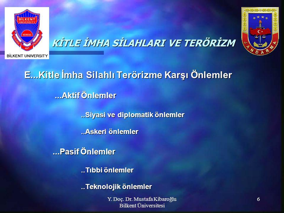 Y. Doç. Dr. Mustafa Kibaroğlu Bilkent Üniversitesi 6 KİTLE İMHA SİLAHLARI VE TERÖRİZM KİTLE İMHA SİLAHLARI VE TERÖRİZM E...Kitle İmha Silahlı Terörizm