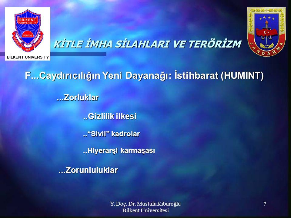 Y. Doç. Dr. Mustafa Kibaroğlu Bilkent Üniversitesi 7 KİTLE İMHA SİLAHLARI VE TERÖRİZM KİTLE İMHA SİLAHLARI VE TERÖRİZM F...Caydırıcılığın Yeni Dayanağ