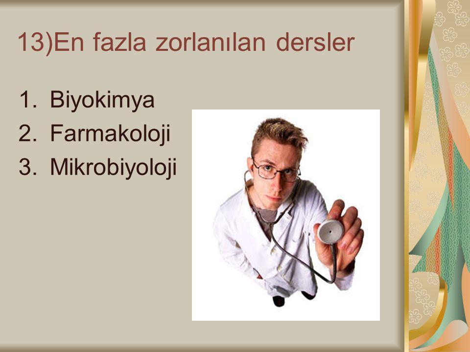 13)En fazla zorlanılan dersler 1.Biyokimya 2.Farmakoloji 3.Mikrobiyoloji