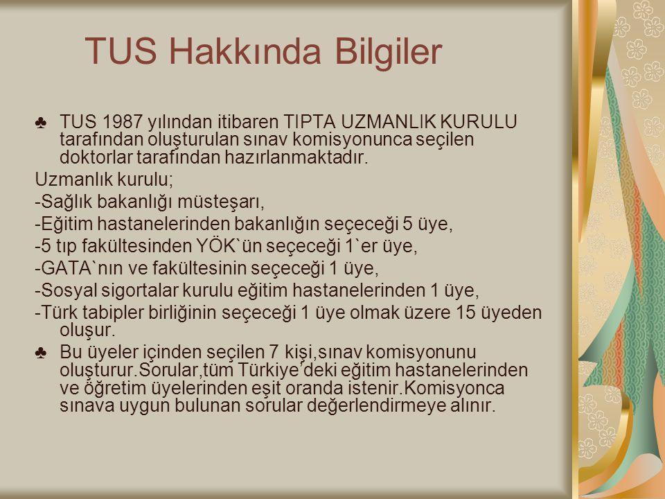 TUS Hakkında Bilgiler ♣TUS 1987 yılından itibaren TIPTA UZMANLIK KURULU tarafından oluşturulan sınav komisyonunca seçilen doktorlar tarafından hazırla