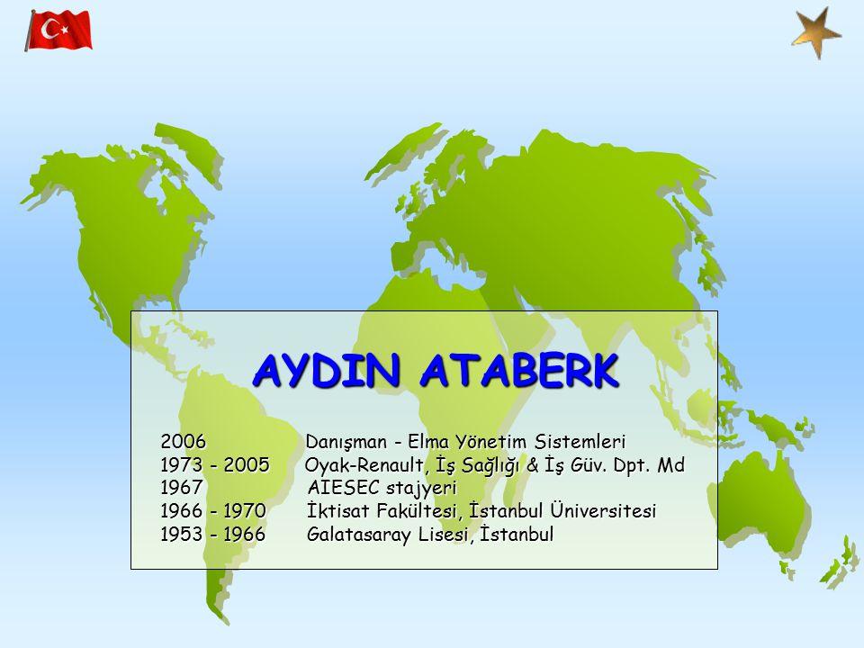 AYDIN ATABERK 2006 Danışman - Elma Yönetim Sistemleri 1973 - 2005 Oyak-Renault, İş Sağlığı & İş Güv.
