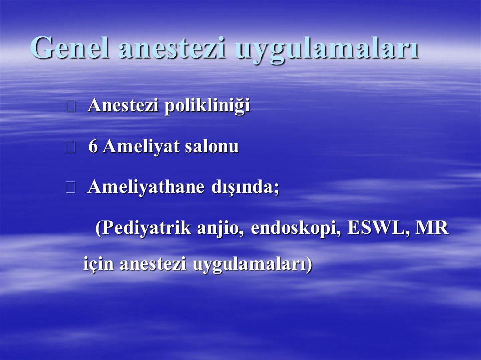 Genel anestezi uygulamaları  Anestezi polikliniği  6 Ameliyat salonu  Ameliyathane dışında; (Pediyatrik anjio, endoskopi, ESWL, MR için anestezi uy