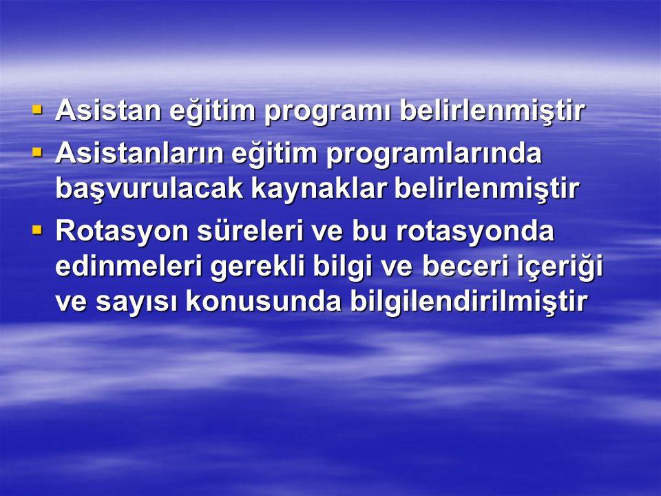  Asistan eğitim programı belirlenmiştir  Asistanların eğitim programlarında başvurulacak kaynaklar belirlenmiştir  Rotasyon süreleri ve bu rotasyon