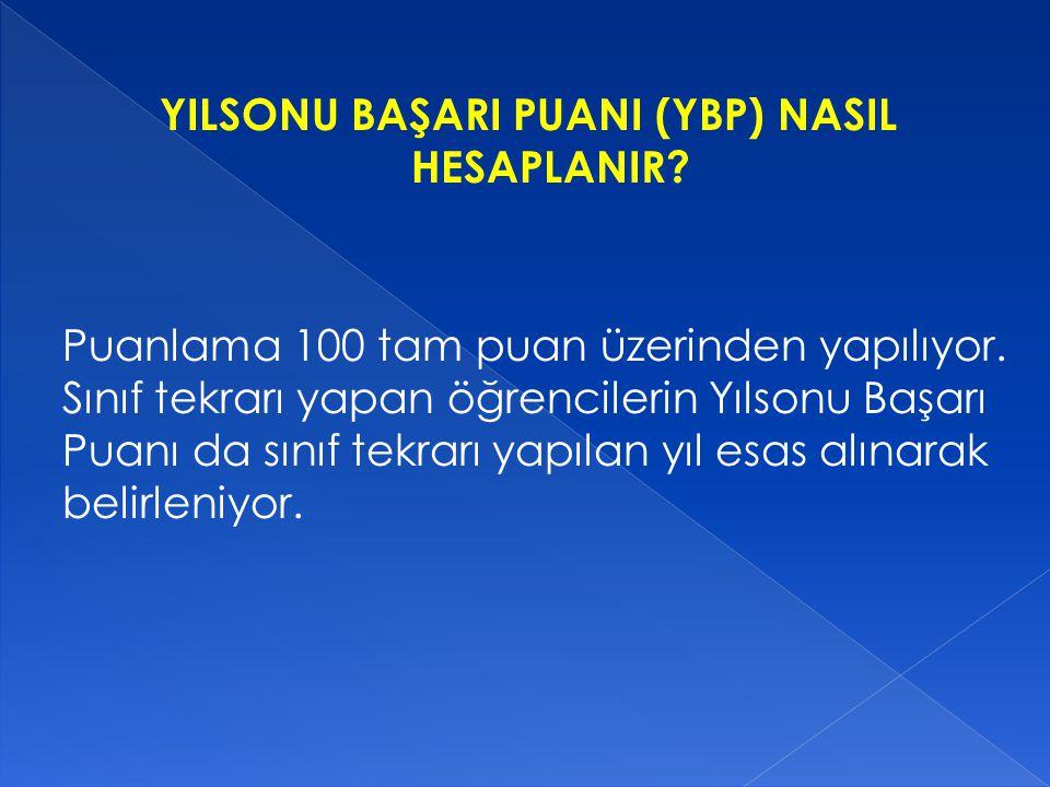 YILSONU BAŞARI PUANI (YBP) NASIL HESAPLANIR.Puanlama 100 tam puan üzerinden yapılıyor.