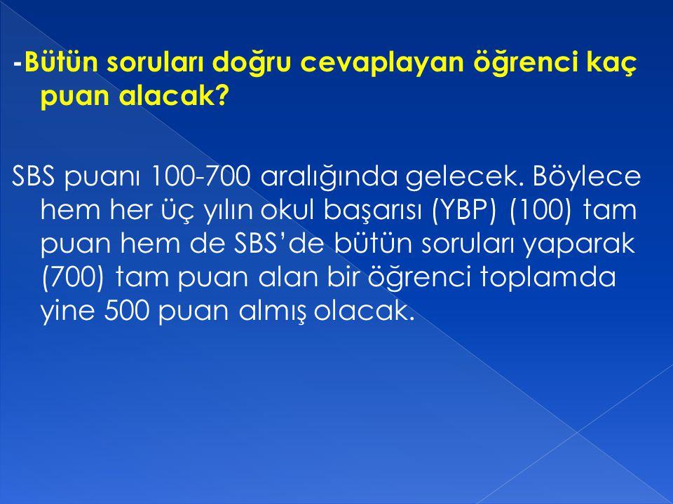 - SBS'de kaç soru sorulacak.
