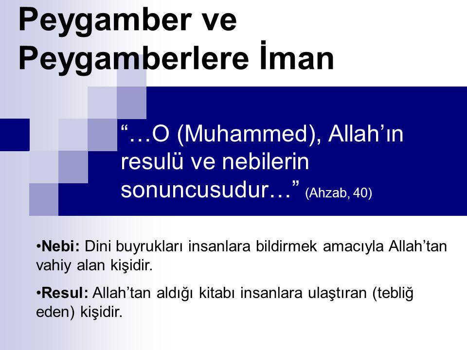 """""""…O (Muhammed), Allah'ın resulü ve nebilerin sonuncusudur…"""" (Ahzab, 40) Peygamber ve Peygamberlere İman Nebi: Dini buyrukları insanlara bildirmek amac"""