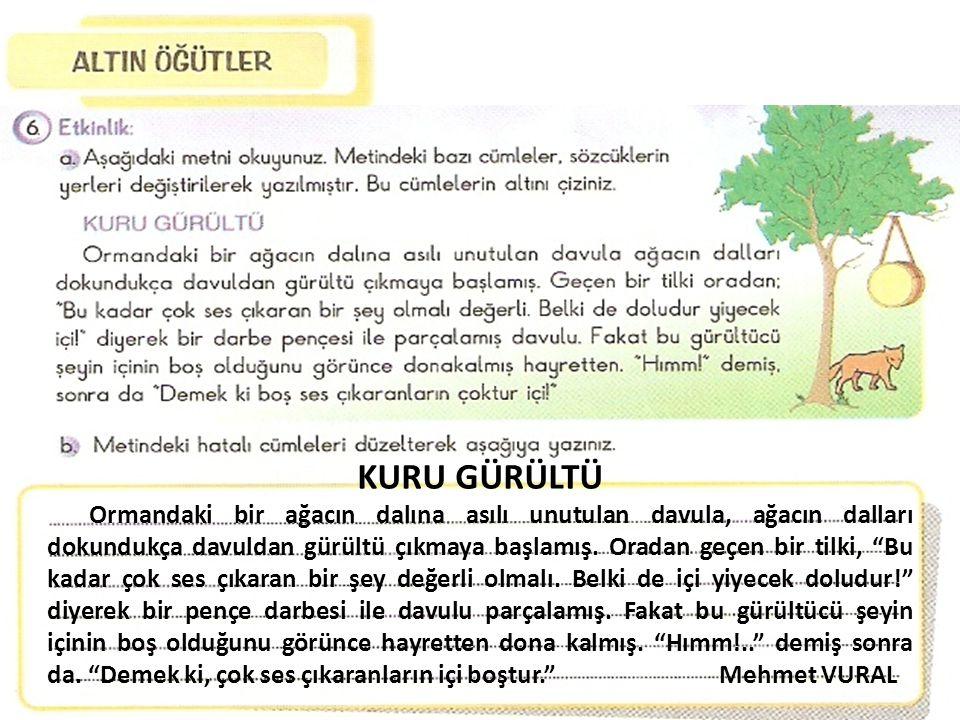 """KURU GÜRÜLTÜ Ormandaki bir ağacın dalına asılı unutulan davula, ağacın dalları dokundukça davuldan gürültü çıkmaya başlamış. Oradan geçen bir tilki, """""""
