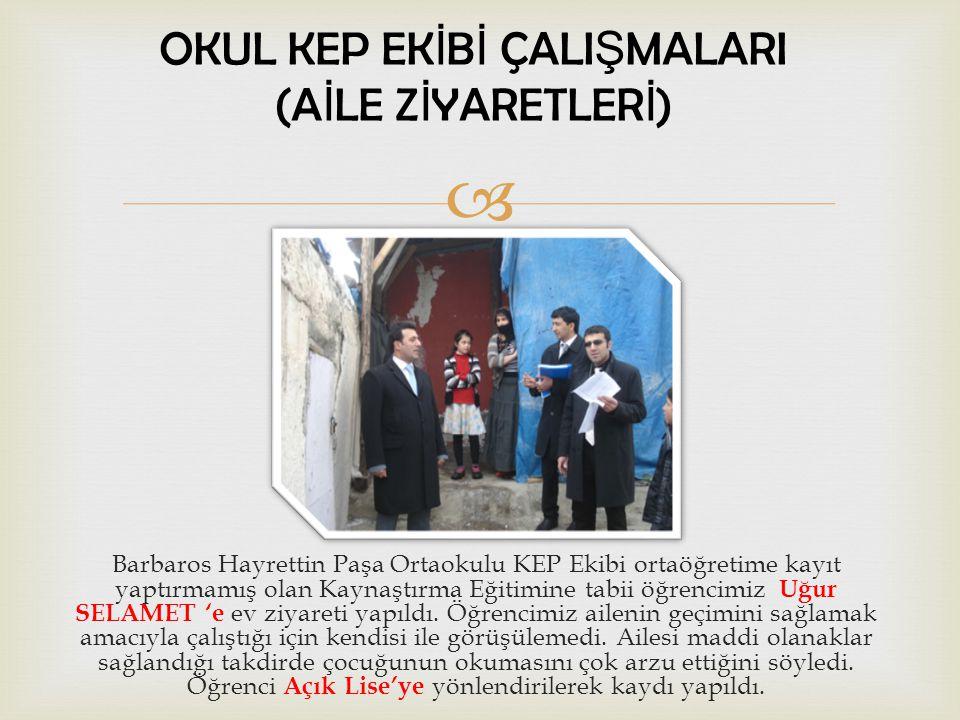  Barbaros Hayrettin Paşa Ortaokulu KEP Ekibi ortaöğretime kayıt yaptırmamış kız öğrencimiz Burçin BİLMEZ evinde ziyaret edildi.