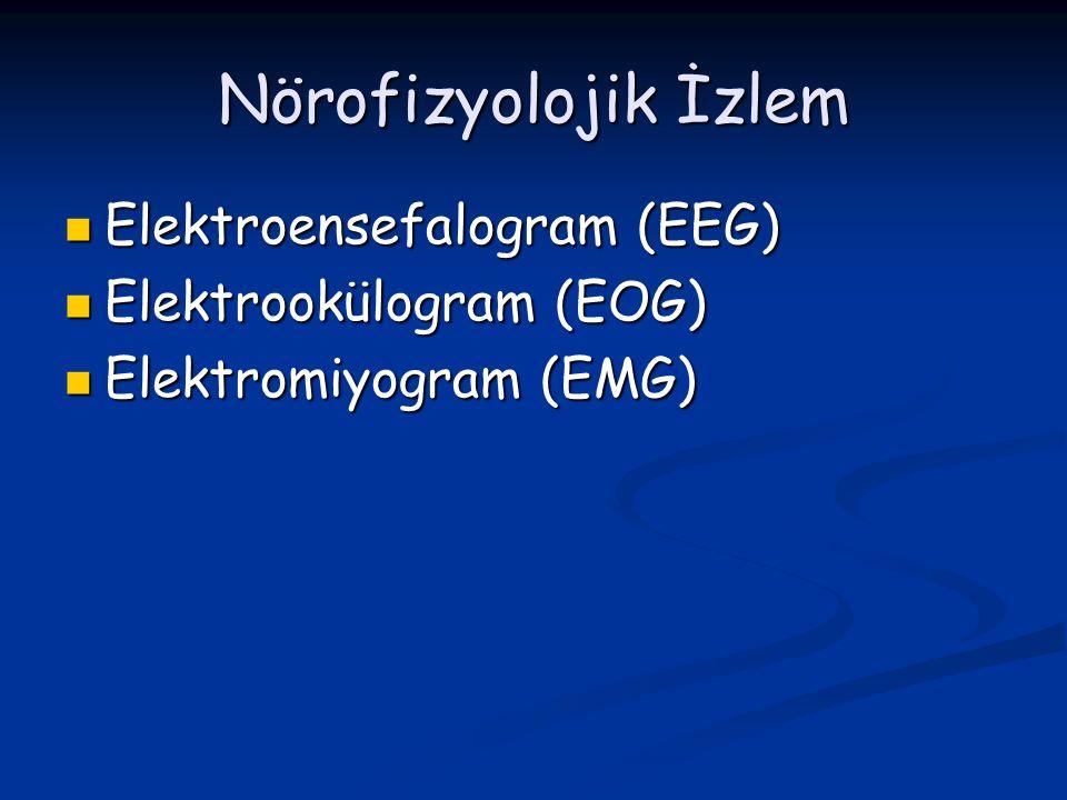 Nörofizyolojik İzlem Elektroensefalogram (EEG) Elektroensefalogram (EEG) Elektrookülogram (EOG) Elektrookülogram (EOG) Elektromiyogram (EMG) Elektromi