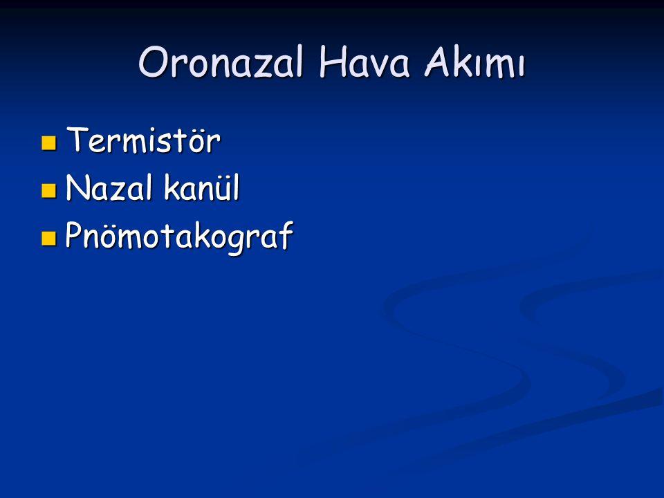 Oronazal Hava Akımı Termistör Termistör Nazal kanül Nazal kanül Pnömotakograf Pnömotakograf