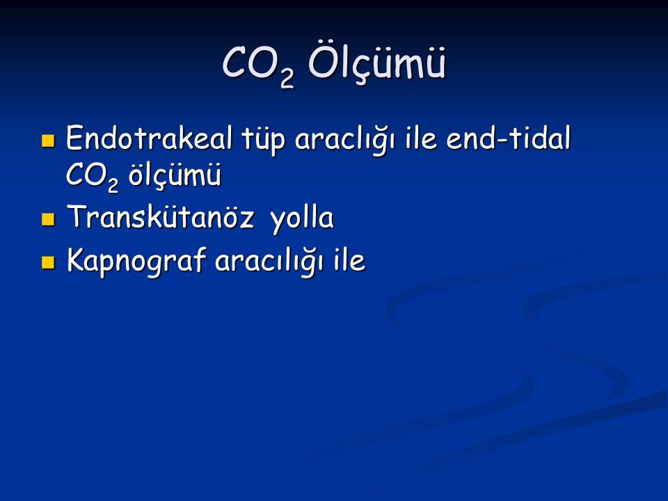 CO 2 Ölçümü Endotrakeal tüp araclığı ile end-tidal CO 2 ölçümü Endotrakeal tüp araclığı ile end-tidal CO 2 ölçümü Transkütanöz yolla Transkütanöz yoll