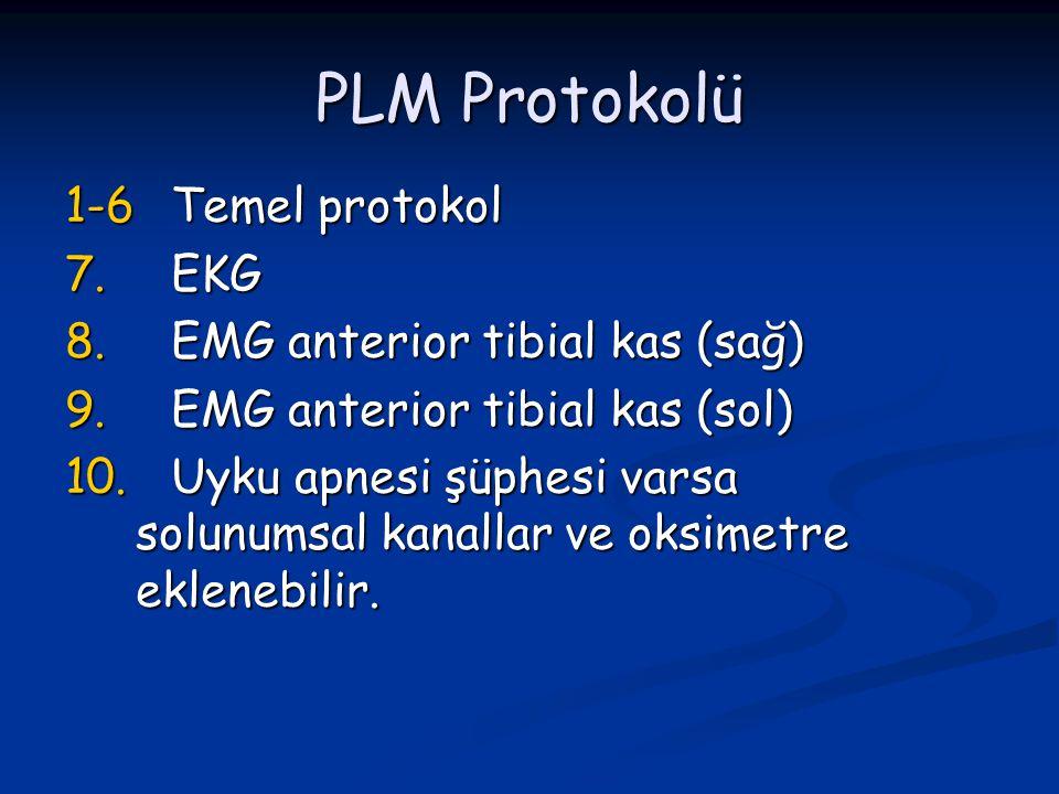 PLM Protokolü 1-6 Temel protokol 7.EKG 8.EMG anterior tibial kas (sağ) 9.EMG anterior tibial kas (sol) 10.Uyku apnesi şüphesi varsa solunumsal kanalla