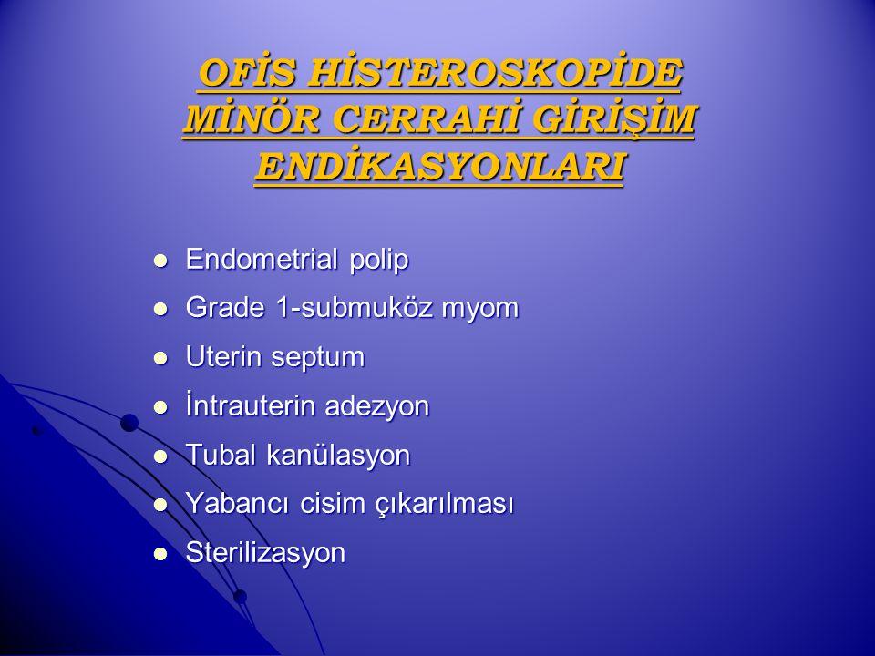 OFİS HİSTEROSKOPİDE MİNÖR CERRAHİ GİRİŞİM ENDİKASYONLARI Endometrial polip Endometrial polip Grade 1-submuköz myom Grade 1-submuköz myom Uterin septum